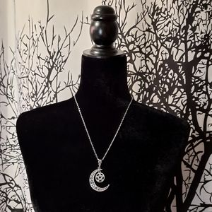 Pentagram Star and Moon Necklace